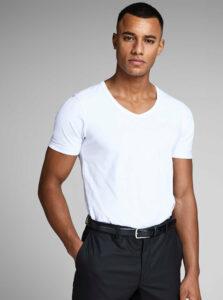 Biele basic tričko s véčkovým výstrihom Jack & Jones Basic