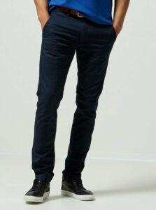 Tmavomodré slim fit chino nohavice s opaskom Selected Homme Yard