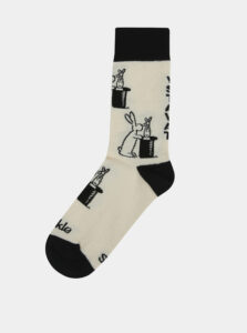 Krémovo–čierne ponožky s motívom Boba a Bobka Fusakle