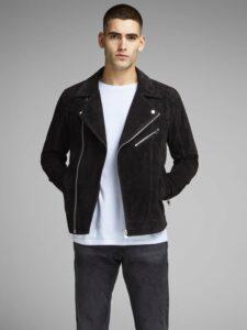 Čierna kožená bunda Jack & Jones Dane