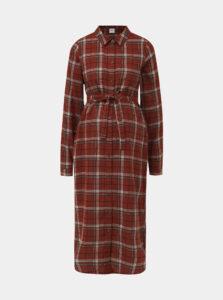 Hnedé kockované tehotenské košeľové šaty Mama.licious Avia