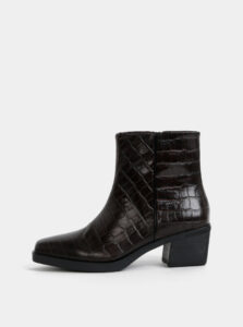 Tmavohnedé dámske kožené členkové topánky s krokodýlím vzorom Vagabond Simone
