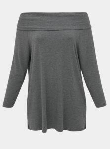 Šedé tričko s odhalenými ramenami ONLY CARMAKOMA Winther