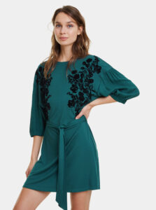 Tmavozelené kvetované šaty Desigual Telma