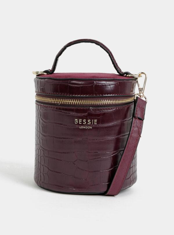 Vínová crossbody kabelka s krokodýlím vzorom Bessie London