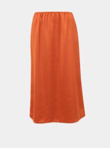 Oranžová midi sukňa ONLY Mania