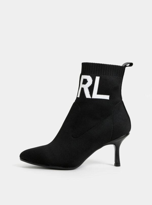 Čierne dámske členkové topánky KARL LAGERFELD Pandora