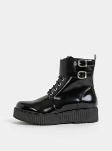 Čierne lesklé členkové topánky na platforme OJJU