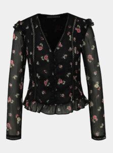 Čierna kvetovaná blúzka s volánmi TALLY WEiJL