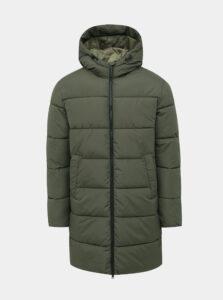 Kaki dlhá prešívaná vodeodpudivá zimná bunda Jack & Jones Knight