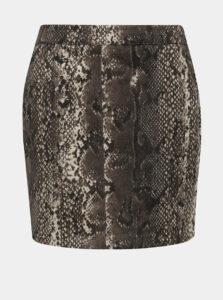 Hnedá sukňa s hadím vzorom v semišovej úprave VERO MODA Donna