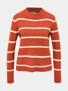 Hnedý pruhovaný sveter Jacqueline de Yong Blake