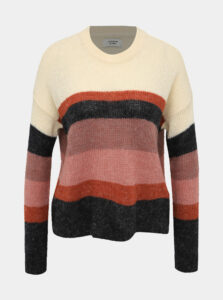 Rúžový pruhovaný sveter Jacqueline de Yong Cordelia