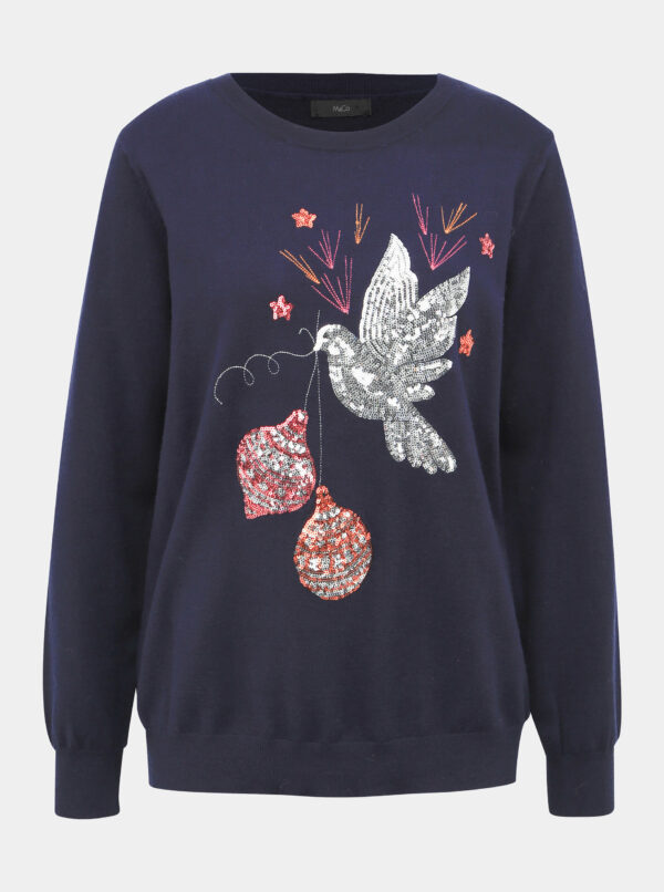 Tmavomodrý sveter s vianočným motívom M&Co