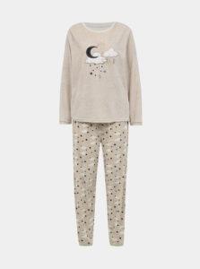 Béžové žíhané dvojdielne pyžamo M&Co