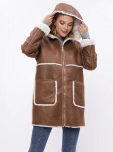 Hnedý kabát s vnútorným umelým kožúškom VILA Elba