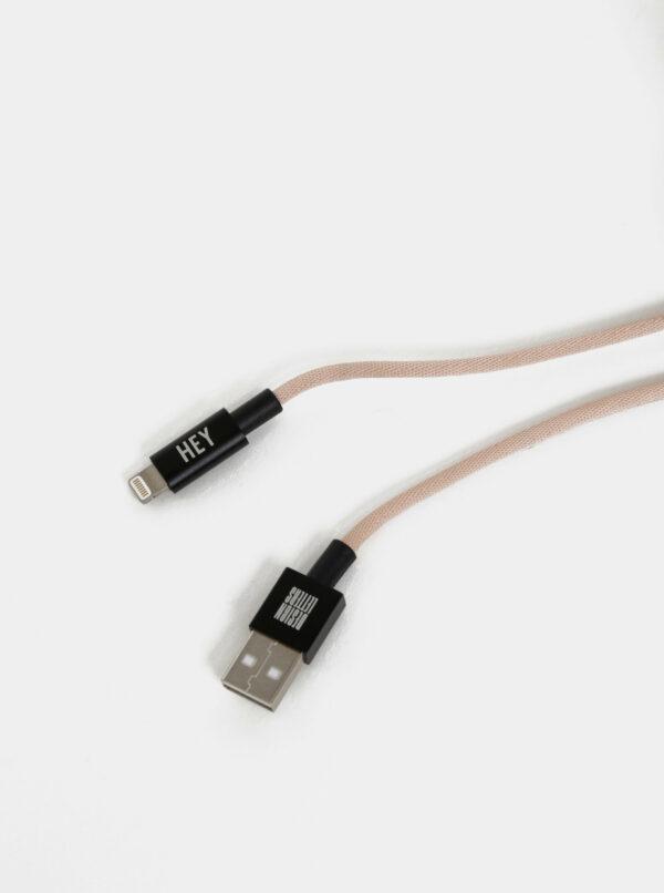 Rúžový nabíjací kábel na iPhone Design Letters 1 m