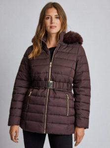 Tmavohnedá vzorovaná prešívaná zimná bunda Dorothy Perkins