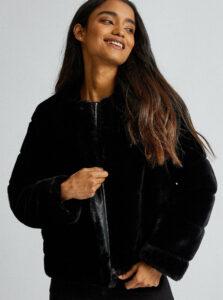 Čierny krátky kabát z umelej kožušiny Dorothy Perkins Petite