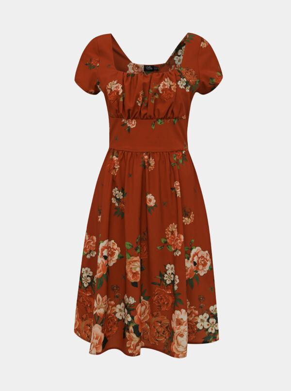 Červené kvetované šaty Dolly & Dotty Satin