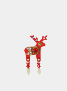 Červená malá brošňa s kamienkami Preciosa Components Deers Finn