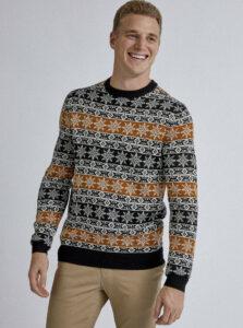 Hnedo-čierny sveter s vianočným motívom Burton Menswear London