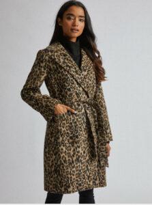 Hnedý kabát s leopardím vzorom Dorothy Perkins Petite