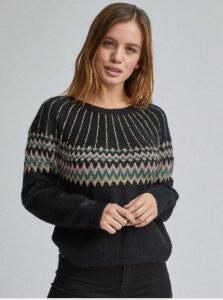 Čierny vzorovaný sveter Dorothy Perkins Petite