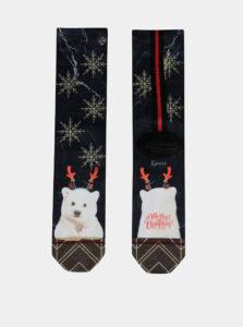 Tmavomodré dámske ponožky s vianočným motívom XPOOOS