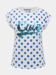 Biele bodkované tričko s flitrami Pompea Cute