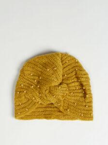 Horčicová dámska čiapka s korálkami Haily´s Pearly