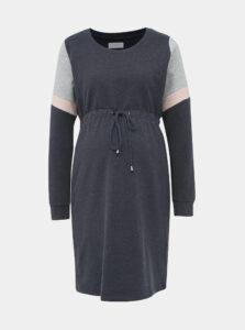 Tmavomodré mikinové tehotenské šaty Mama.licious Mena