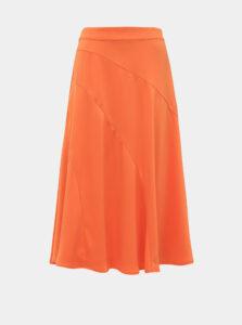 Oranžová saténová midi sukňa VERO MODA Gabbi