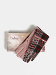 Ružovo-šedé kockované vlnené rukavice Something Special