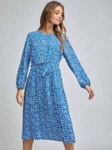 Modré vzorované midišaty Dorothy Perkins Petite