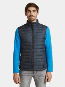 Tmavomodrá pánska vzorovaná prešívaná vodeodpudivá vesta Tom Tailor
