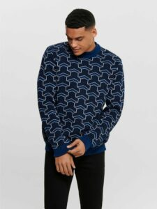 Tmavomodrý vzorovaný sveter ONLY & SONS Past