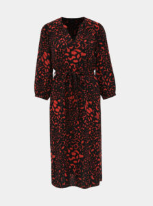 Červeno-čierne šaty s leopardím vzorom M&Co