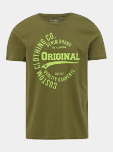 Kaki pánske tričko s potlačou Tom Tailor Denim