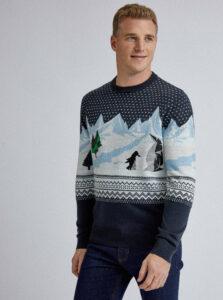Tmavomodrý vzorovaný sveter s výšivkou Burton Menswear London Penguin Polygon