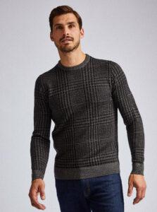 Tmavošedý vzorovaný sveter Burton Menswear London Dogtooth
