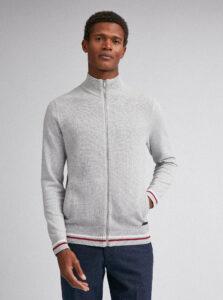 Svetlošedý sveter na zips Burton Menswear London
