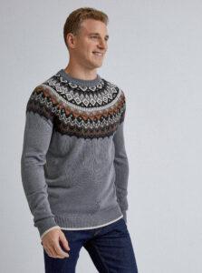 Šedý vzorovaný sveter Burton Menswear London Erikson