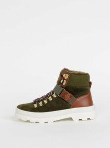 Zelené dámske semišové členkové zimné topánky s vlnenou podšívkou GANT Westport