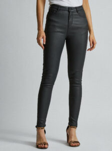 Čierne skinny fit nohavice s povrchovou úpravou Dorothy Perkins Shape & Lift