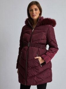 Vínový tehotenský zimný kabát Dorothy Perkins Maternity