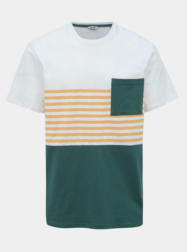 Zeleno-biele tričko ONLY & SONS Del