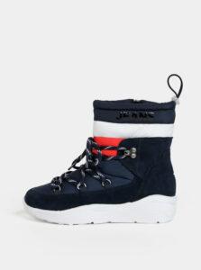 Tmavomodré dámske zimné členkové topánky so semišovými detailmi Tommy Hilfiger