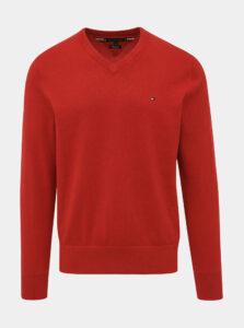 Červený pánsky basic sveter Tommy Hilfiger