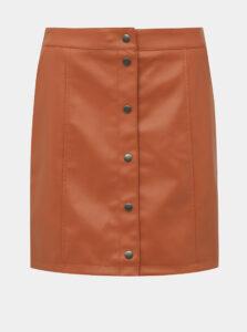 Oranžová koženková sukňa VERO MODA Conneryray